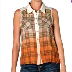💥Women's Miss Me Tan/Orange Plaid Ombré